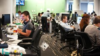 The Huffington Post newsroom in New York on Wednesday Aug. 8, 2012. (Damon Dahlen, AOL)