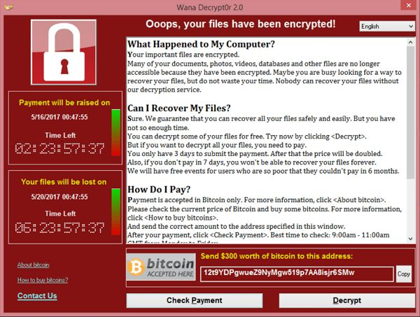 The encryption message displayed to the victims of last week's global cyberattacks, when trying to access secure files.
