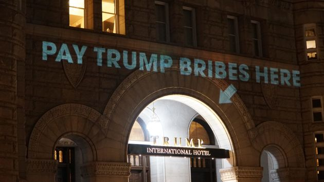 Artist Projects 'Pay Trump Bribes Here' Message On President's D.C.