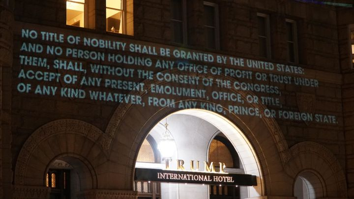 One of the projections quoted the Emoluments Clause of the Constitution.