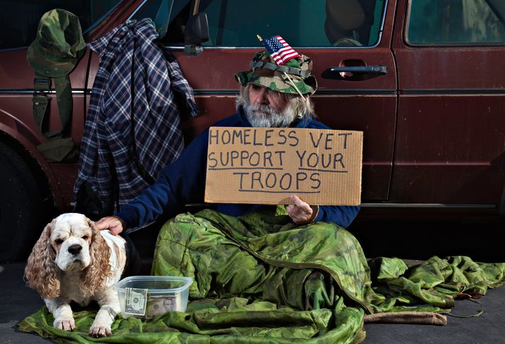 Who we think homeless veterans are, which is no longer an accurate depiction of who they may include (homeless women veterans