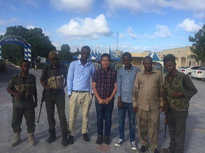 Nguyen making friends in Somalia.