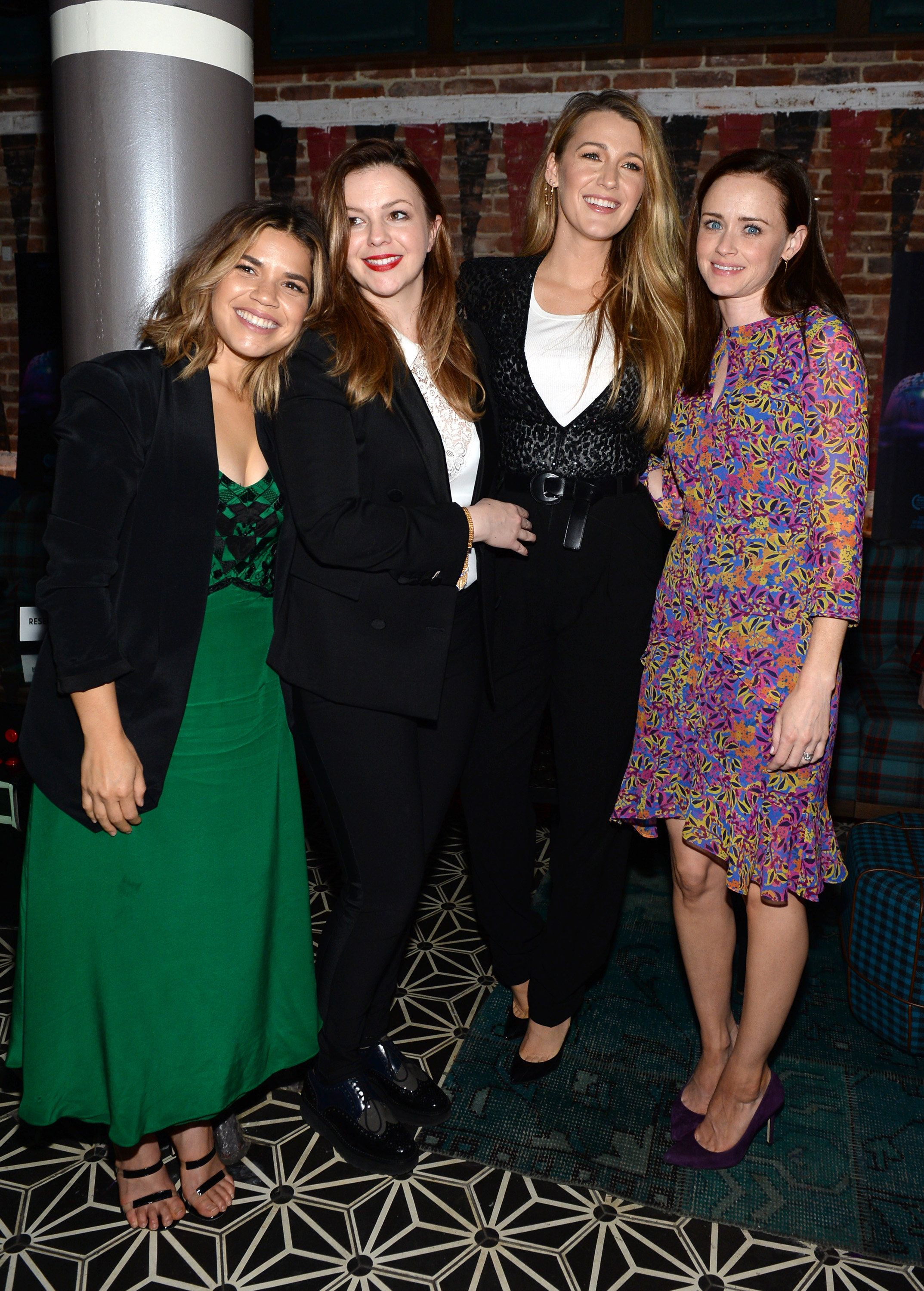 NEW YORK, NY - MAY 15:  (L-R) America Ferrera, Amber Tamblyn, Blake Lively and Alexis Bledel attend the 'Paint It Black' New York premiere after party at Fishbowl at the Dream Hotel on May 15, 2017 in New York City.  (Photo by Andrew Toth/Getty Images)