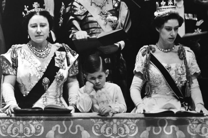 <p>Prince Charles with his Aunt, Princess Margaret (right), and his Grandmother, Elizabeth the Queen Mother, at the 1953 coronation of his mother, Queen Elizabeth II.</p>