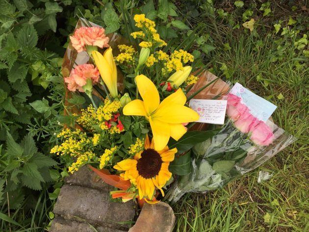 Tributes left to the teenager at the scene of the