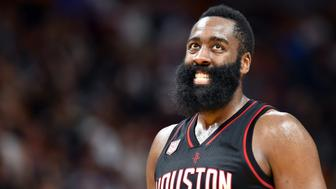 Jan 17, 2017; Miami, FL, USA; Houston Rockets guard James Harden (13) reacts during the second half against the Miami Heat at American Airlines Arena. The Heat won 109-103. Mandatory Credit: Steve Mitchell-USA TODAY Sports