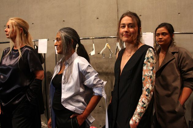 Models pose backstage ahead of the Thomas Puttick show at Mercedes-Benz Fashion Week Resort 18 Collections...
