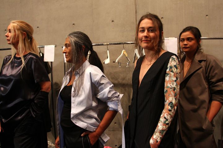 Models pose backstage ahead of the Thomas Puttick show at Mercedes-Benz Fashion Week Resort 18 Collections on May 15.