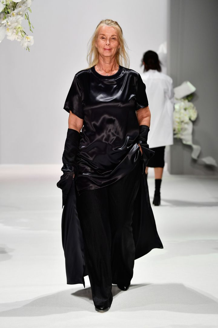 Strutting down the runway in all black.