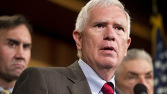 UNITED STATES - SEPTEMBER 9: Rep. Mo Brooks, R-Ala., speaks during a news conference with House and Senate members on immigration on Tuesday, Sept. 9, 2014. (Photo By Bill Clark/CQ Roll Call)