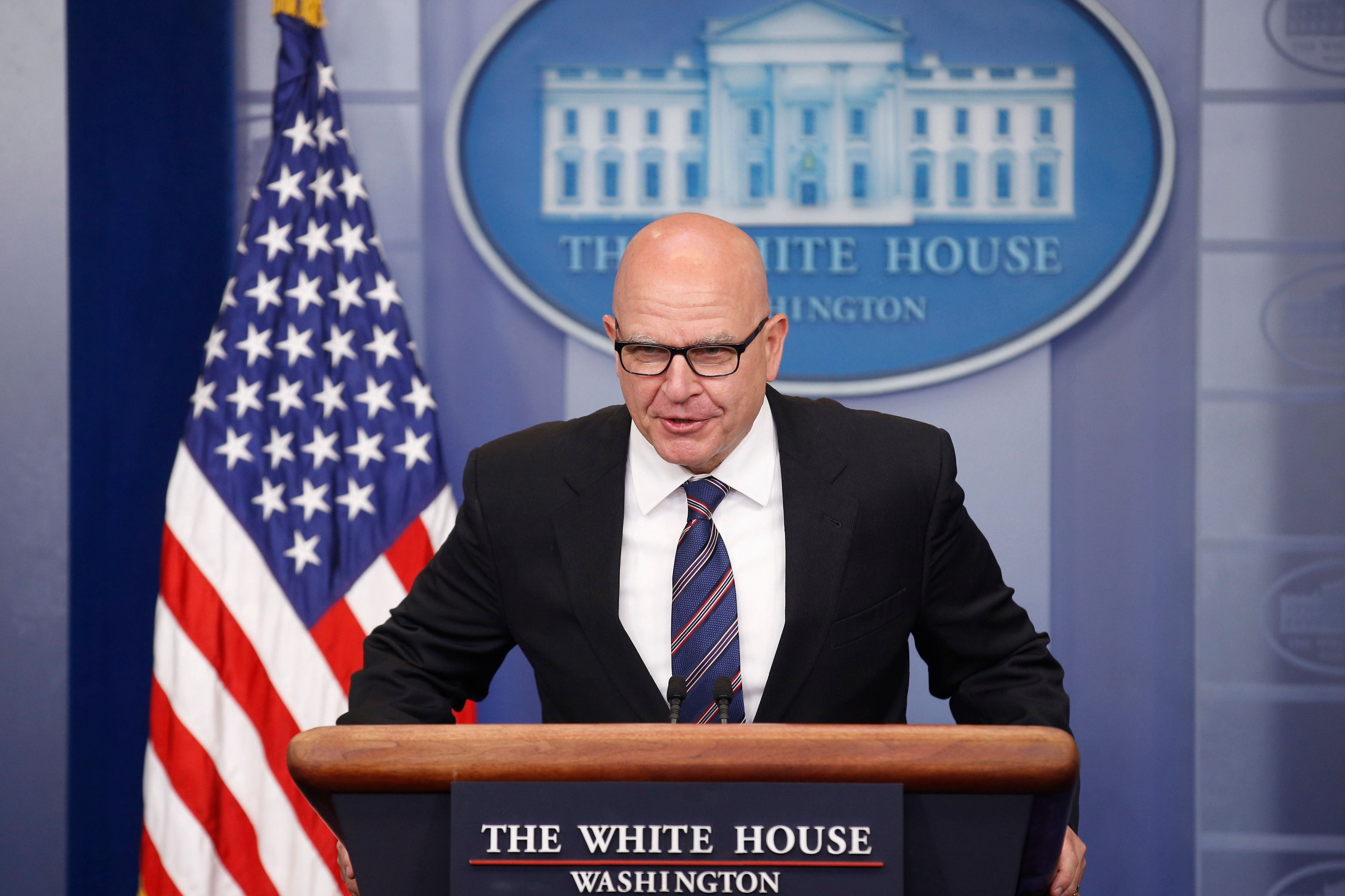 National security adviser H.R. McMaster speaks to reporters