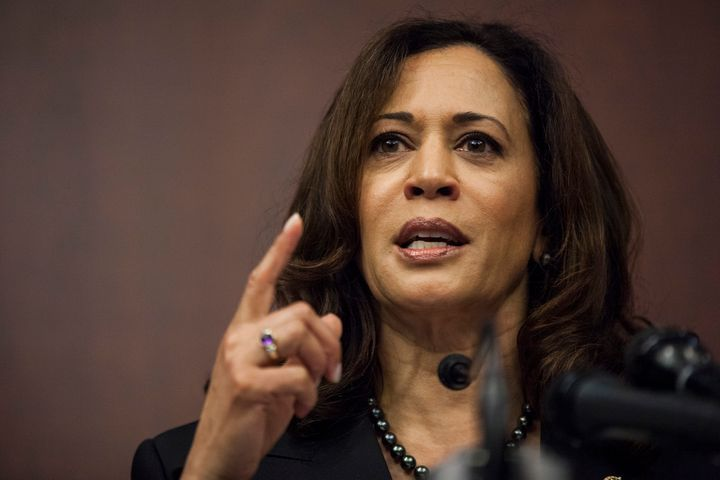 Sen. Kamala Harris (D-Calif.) speaks during a news conference on Capitol Hill on March 28, 2017.