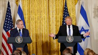 U.S. President Donald Trump  (R) addresses a joint news conference with Israeli Prime Minister Benjamin Netanyahu at the White House in Washington, U.S., February 15, 2017.   REUTERS/Kevin Lamarque