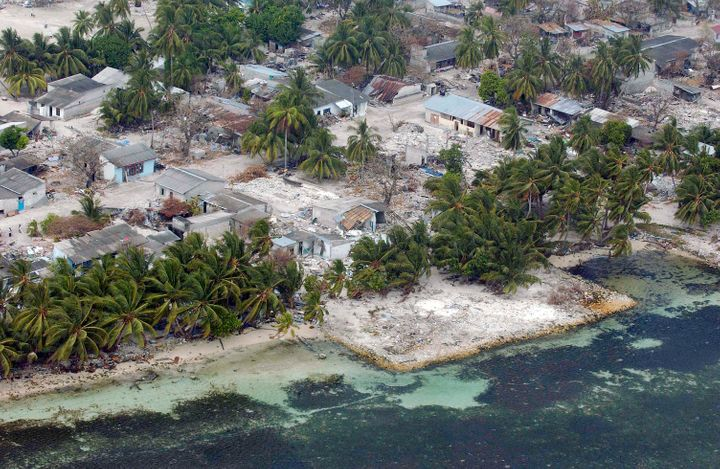 An aerial view of the tsunami-ravaged village of Kolhuvaariyaafushi, located in the Madlives' in the southwestern Mulaaku Ato
