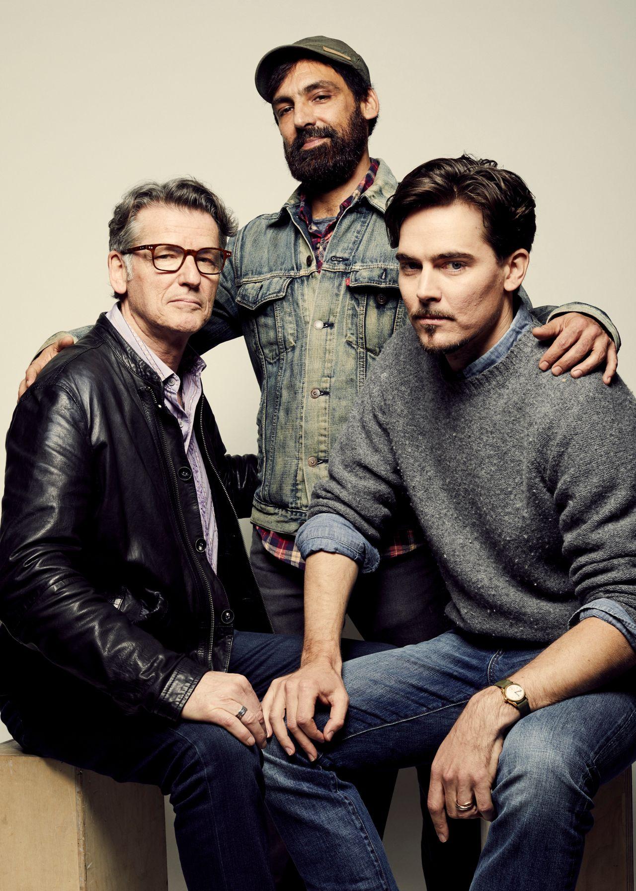 Derik Murray, Matt Amato and Adrian Buitenhuis from 'I Am Heath Ledger' pose at the 2017 Tribeca Film Festival portrait studio on April 24, 2017 in New York City.