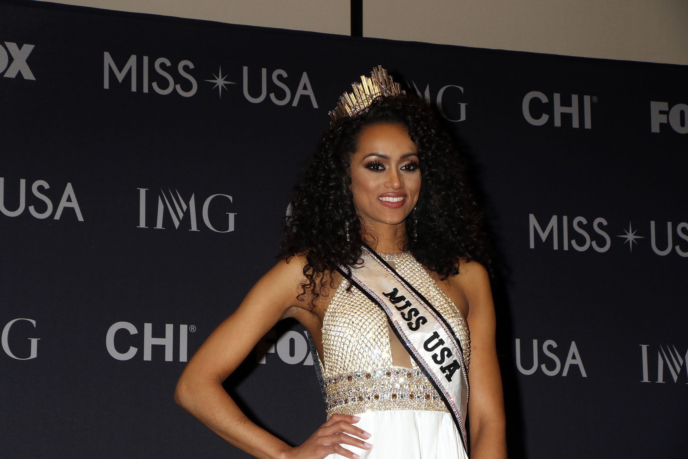 Miss USA 2017 Kara McCullough attends her first press conference as Miss USA 2017