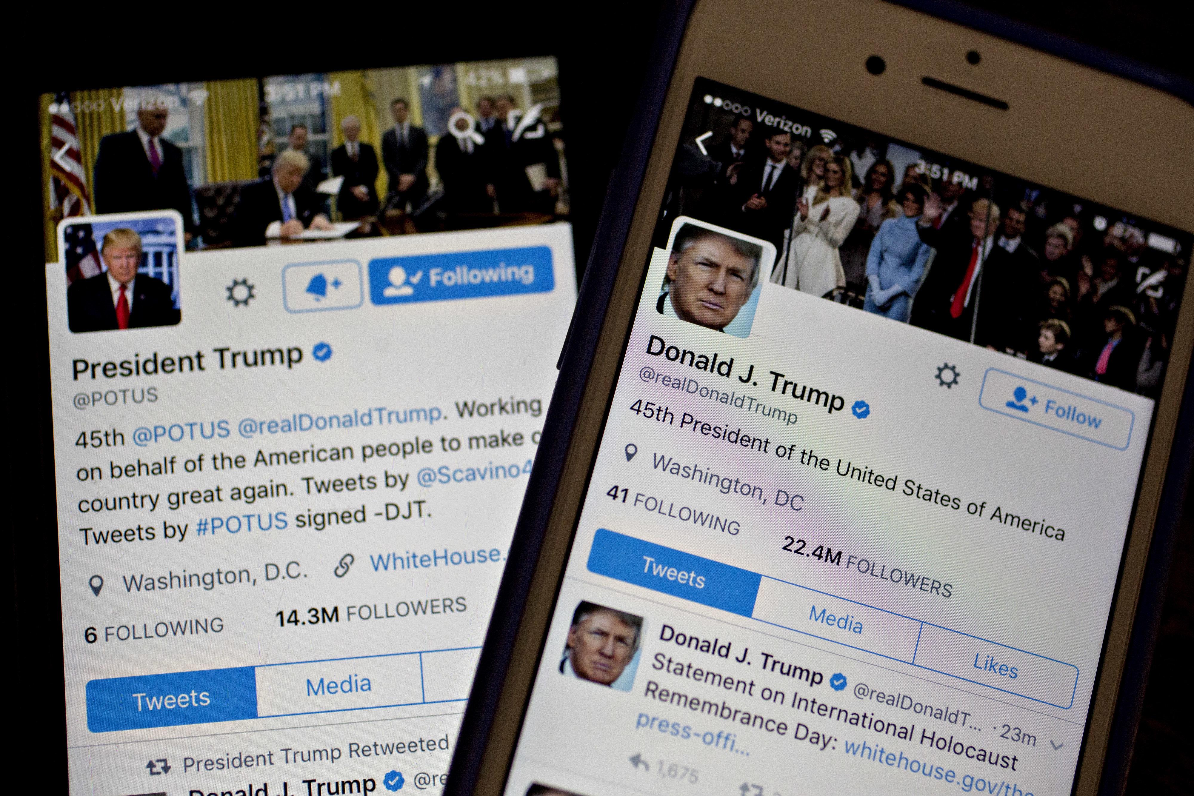 The Twitters of U.S. President Donald Trump, @POTUS and @realDoanldTrump, seen Friday, Jan. 27, 2017.