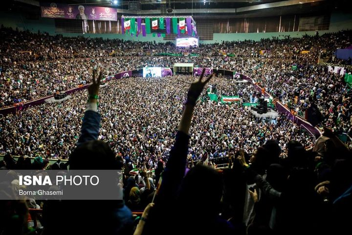 About 20,000 people participated at a rally for President Rouhani in Tehran on May 13, 2017