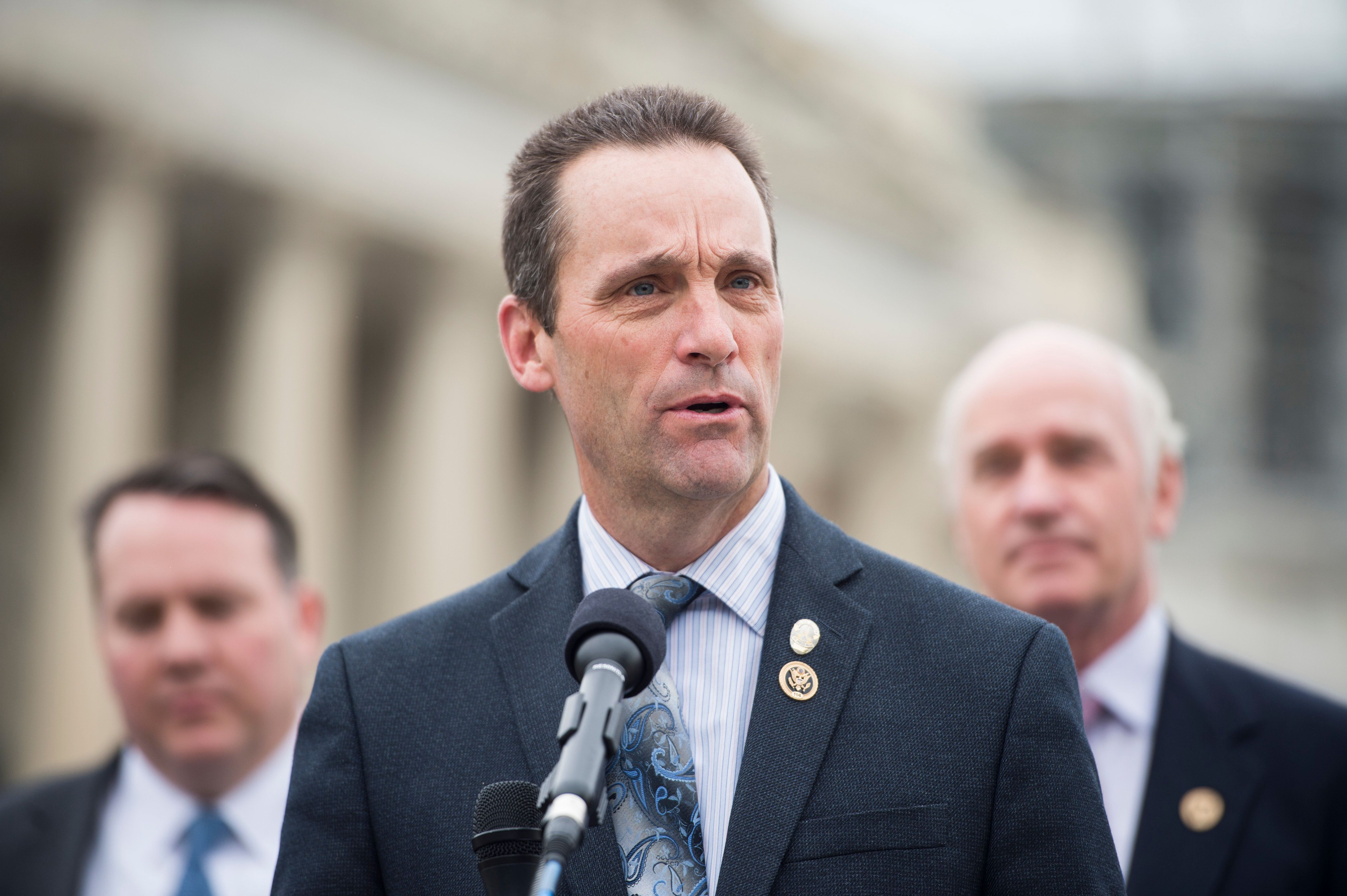 UNITED STATES - APRIL 21: Rep. Steve Knight, R-Calif., speaks during the news conference at the Capitol with other members of the Heroin Task Force on combating heroin abuse on Thursday, April 21, 2016. (Photo By Bill Clark/CQ Roll Call)