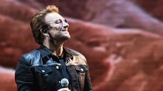 SEATTLE, WA - MAY 14:  Singer Bono of U2 performs on stage during the 'Joshua Tree Tour 2017' at CenturyLink Field on May 14, 2017 in Seattle, Washington.  (Photo by Mat Hayward/Getty Images)