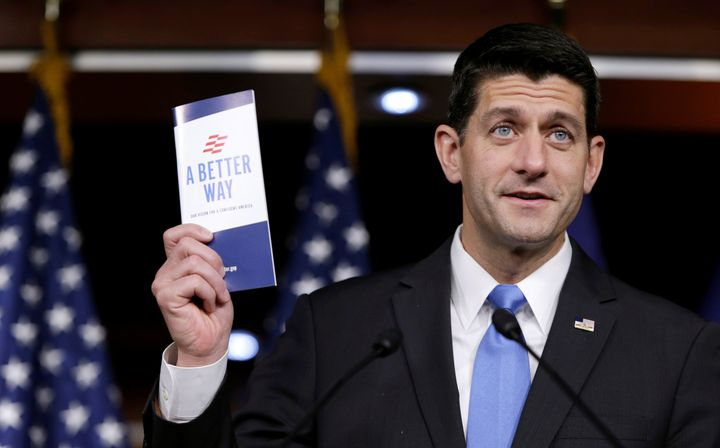 "U.S. Speaker of the House Paul Ryan (R-Wis) holds a copy of his party's ""A Better Way"" reform agenda at a news conference on"
