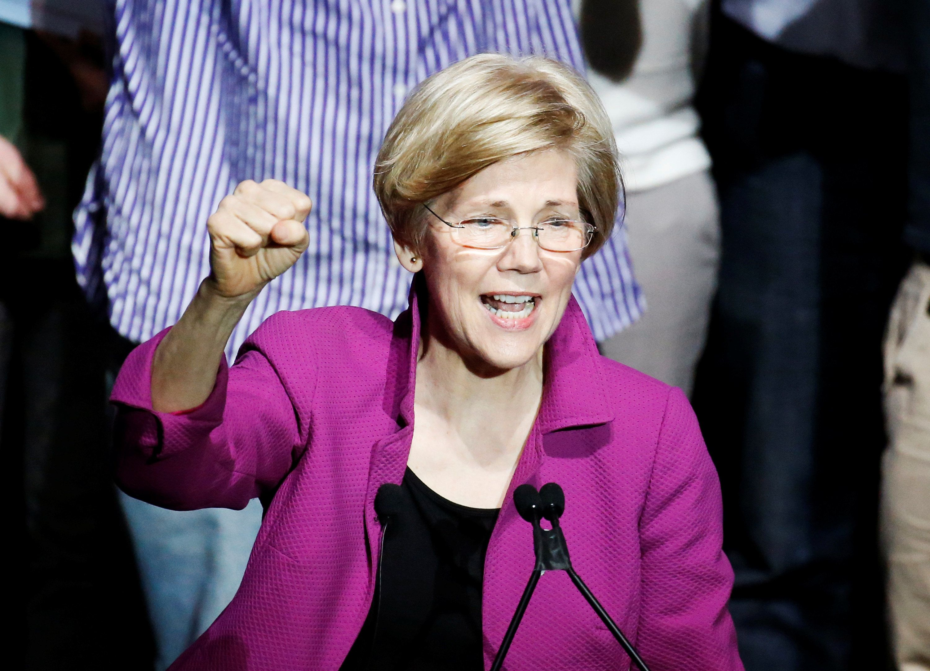 Warren denounced the influence of money in politics and the trend toward corporate consolidation in a passionate speech