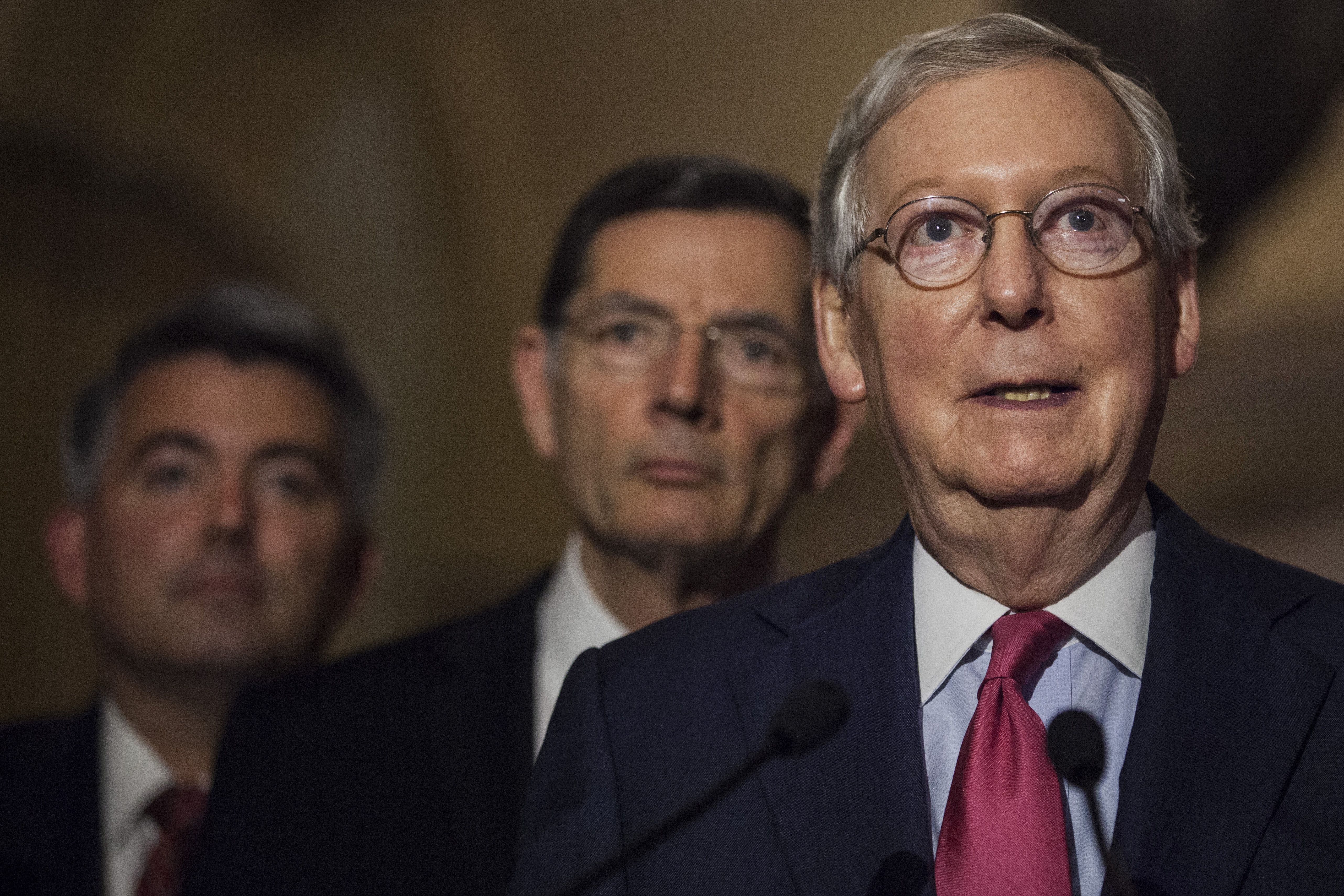 Senate Majority Leader Mitch McConnell, a Republican from Kentucky, speaks during a news conference following a Senate Republican luncheon in Washington, D.C., U.S., on Tuesday, May 16, 2017. U.S. lawmakers from both parties kept up the pressure on Donald Trump over the sudden firing of James Comey, demanding that recordings the president suggested he may have made of his meetings with the former FBI director be preserved and handed over to lawmakers. Photographer: Zach Gibson/Bloomberg via Getty Images