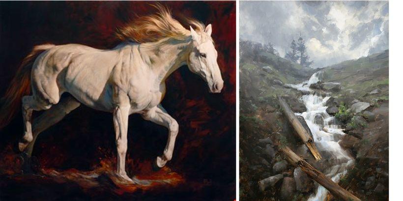 <em>White Velvet</em> by Julie Bell and <em>The Coming Rain</em> by David Santillanes