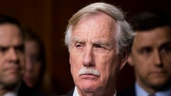 UNITED STATES - MARCH 30: Sen. Angus King, I-Maine,  listens during the Senate Select Committee on Intelligence hearing on Russian intelligence activities on Thursday, March 30, 2017. (Photo By Bill Clark/CQ Roll Call)