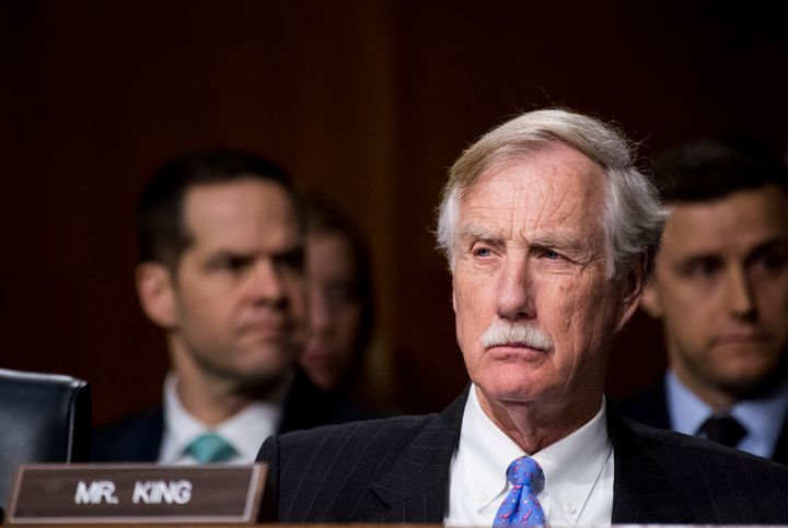 Sen. Angus King (I-Maine) during the Senate Select Committee on Intelligence hearing on Russian intelligence activities on Ma