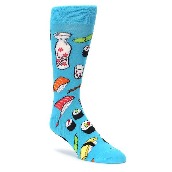 "<a href=""https://www.boldsocks.com/product/bright-blue-sushi-food-mens-dress-socks-socksmith"" target=""_blank"">$10 at Bold Soc"