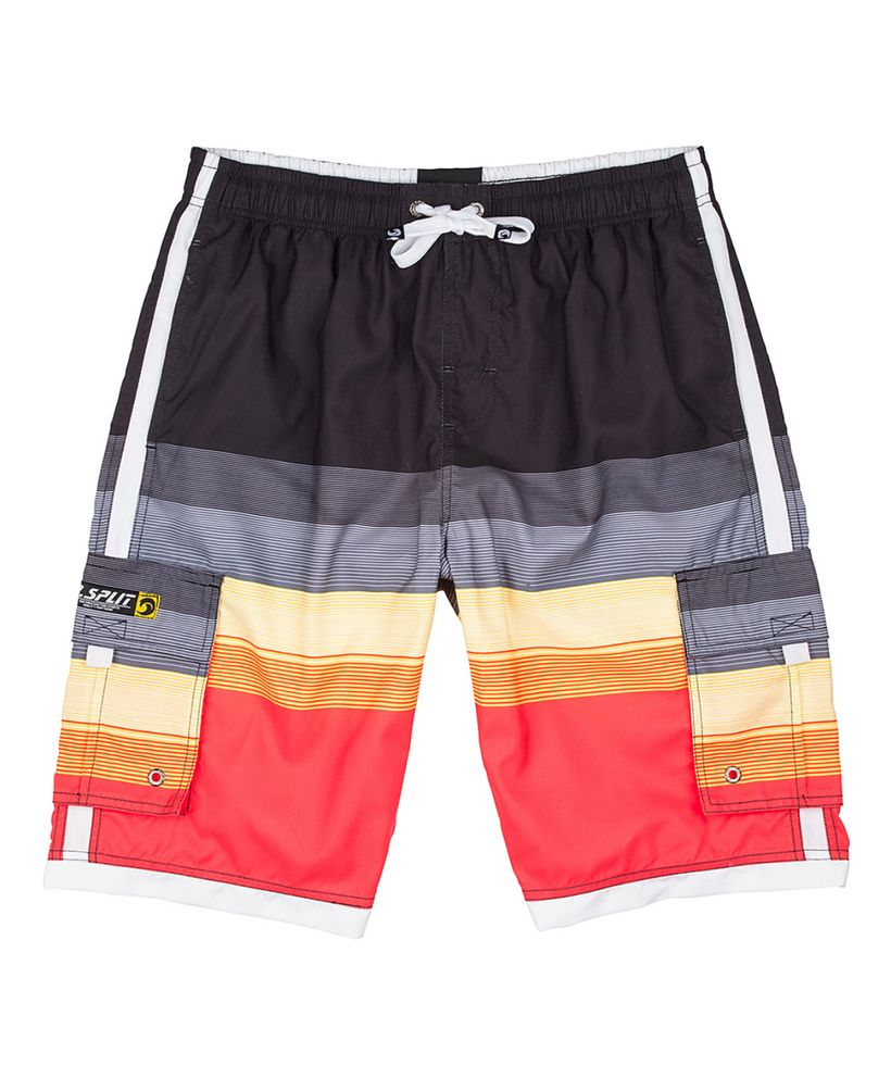 Orange Stripe Color-block Cargo Pocket Elastic Swim Trunks