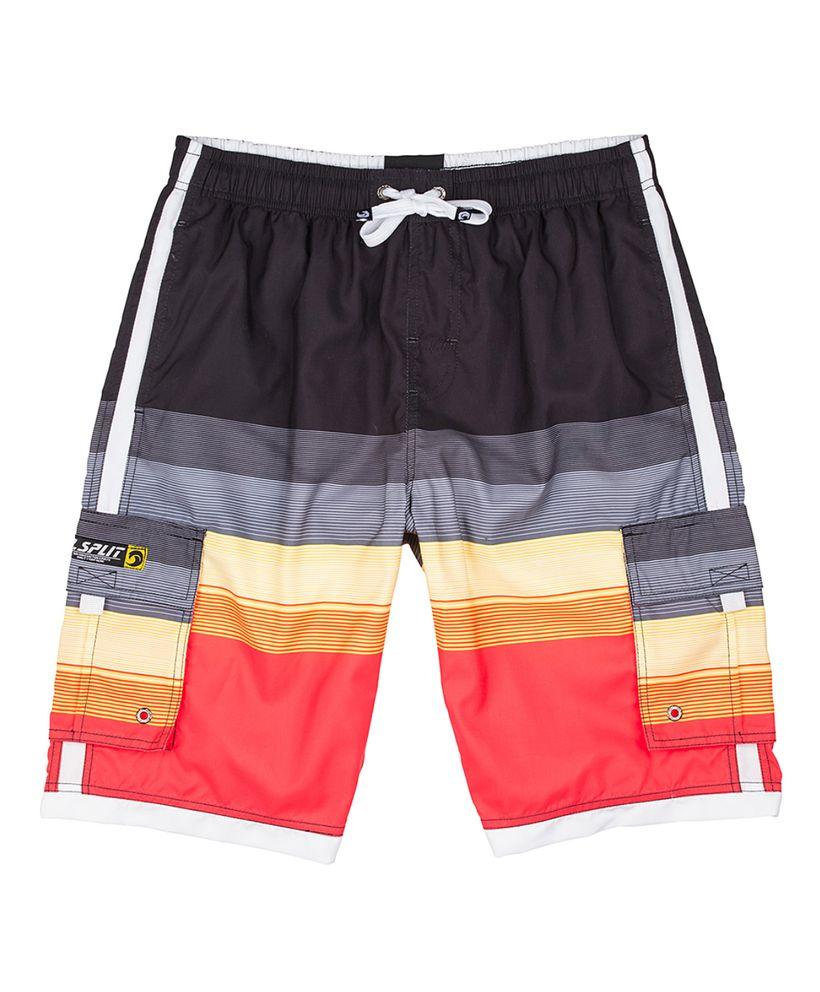 Orange Stripe Color-block Cargo Pocket Elastic Swim Trunks