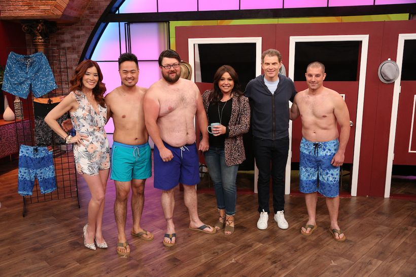 With models, Rachael Ray and guest cohost Bobby Flay.