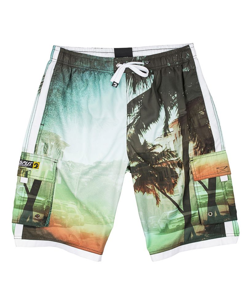 Dark Green Beach Photo Cargo Pocket Elastic Swim Trunks