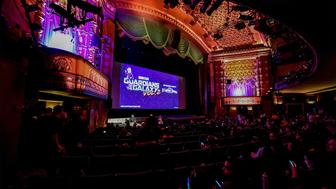 LOS ANGELES, CA - MAY 04:  A view of the El Capitan Theatre where the screening of Disney and Marvel Studios' 'Guardians of the Galaxy Vol. 1' and 'Guardians of the Galaxy Vol. 2' is taking place on May 4, 2017 in Los Angeles, CA  (Photo by Brandon Williams/Getty Images)