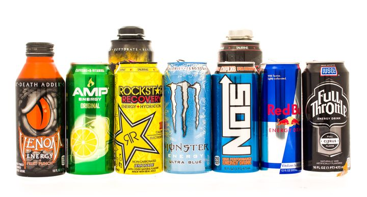 Pediatricians say that energy drinks, like the ones seen here, have no place in a child or teenager's diet. At least one doctor wants an age regulation on their purchase.