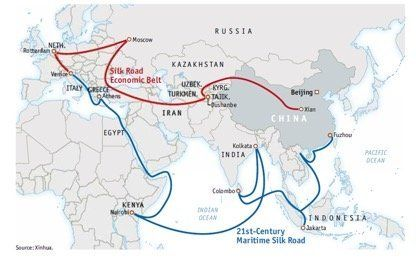 China's One Belt, One Road initiative links up land and maritime trade routes.