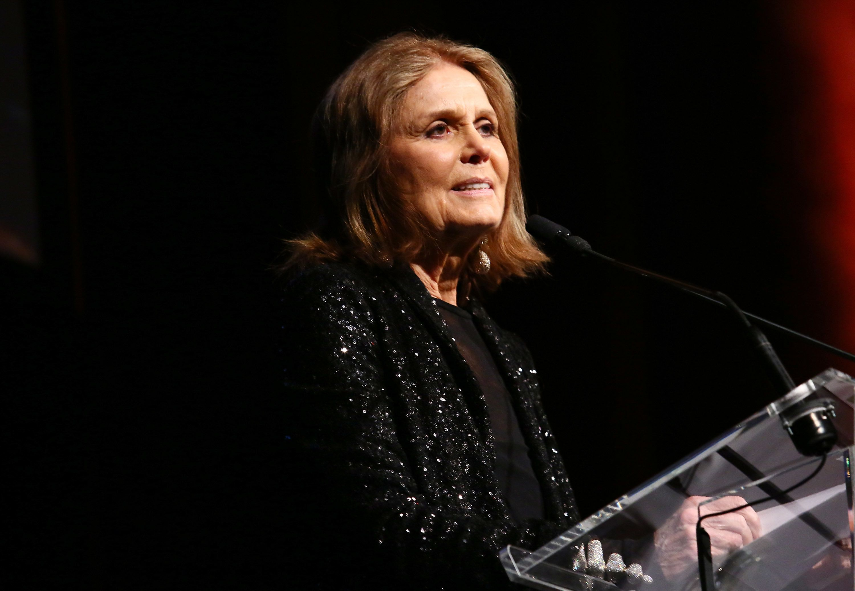 NEW YORK, NY - MAY 03:  Gloria Steinem speaks onstage at the Ms. Foundation for Women 2017 Gloria Awards Gala & After Party at Capitale on May 3, 2017 in New York City.  (Photo by Astrid Stawiarz/Getty Images for The Foundation for Women)
