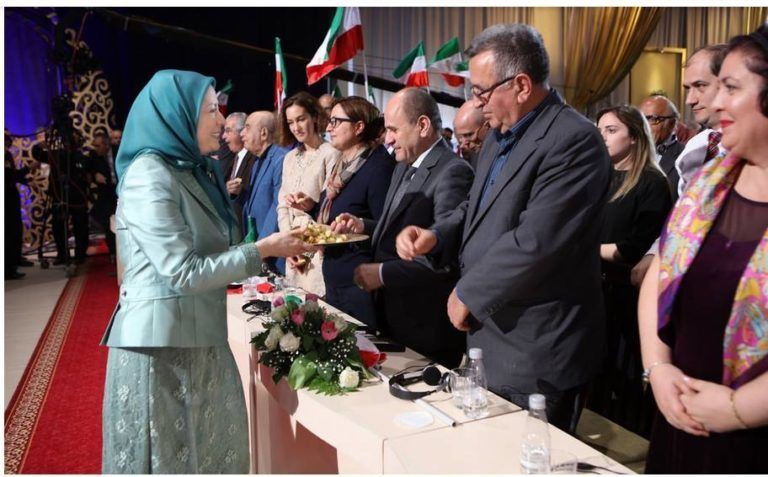Elona Gjebrea at the March 2017 Mojahedin Khalq rally in Tirana, Albania with Maryam Rajavi