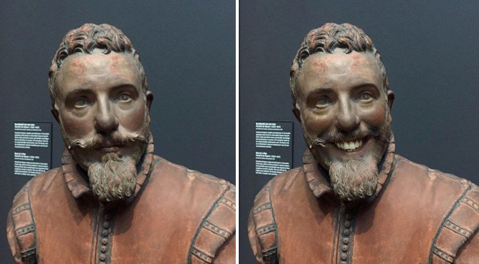 "A sculpture in the Rijksmuseum in Amsterdam that Olly Gibbs, 27 used a face app on to give it a smile. See Masons copy MNFACE: A man unimpressed with his photos of ""miserable"" classical portraits was surprised when they went viral after he used an app to make them smile. Olly Gibbs, 27, used the facial recognition feature on his mobile phone to digitally alter the historical masterpieces at a world-famous museum. The graphic designer for Empire magazine said his versions of the Dutch 'Golden Age' art held at the renowned Rijksmuseum in Amsterdam made them look less ""miserable""."