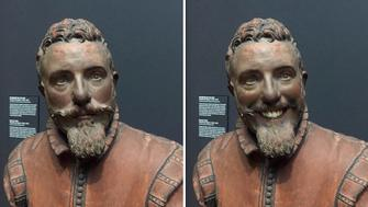 """A sculpture in the Rijksmuseum in Amsterdam that Olly Gibbs, 27 used a face app on to give it a smile. See Masons copy MNFACE: A man unimpressed with his photos of """"miserable"""" classical portraits was surprised when they went viral after he used an app to make them smile. Olly Gibbs, 27, used the facial recognition feature on his mobile phone to digitally alter the historical masterpieces at a world-famous museum. The graphic designer for Empire magazine said his versions of the Dutch 'Golden Age' art held at the renowned Rijksmuseum in Amsterdam made them look less """"miserable""""."""