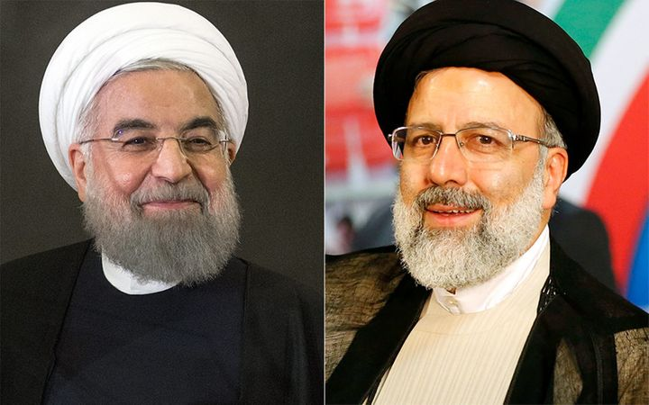 Iranian President Hassan Rouhani (left)goes beforethe voters on May 19. His main rival for re-election is hardlin