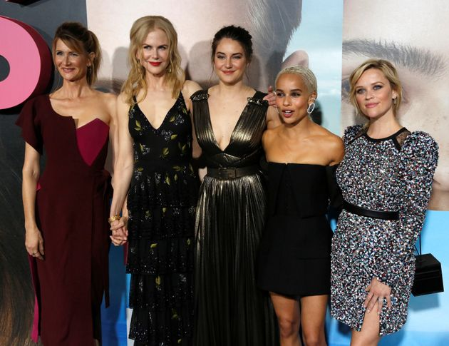 Cast members (L-R) Laura Dern, Nicole Kidman, Shailene Woodley, Zoe Kravitz and Reese Witherspoon pose...