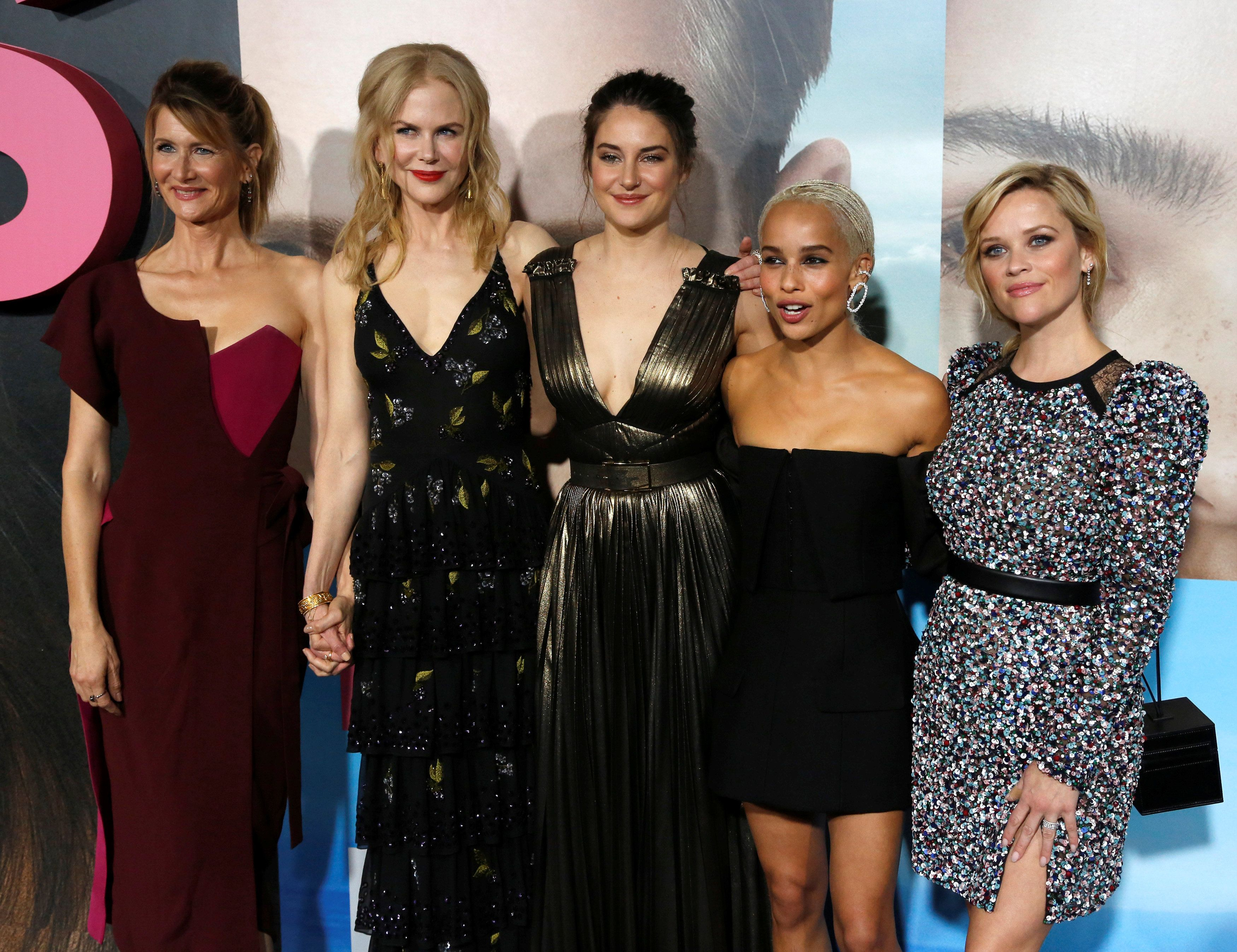 Cast members (L-R) Laura Dern, Nicole Kidman, Shailene Woodley, Zoe Kravitz and Reese Witherspoon pose at the premiere of the