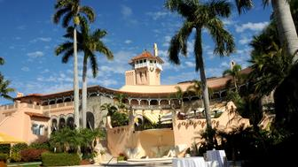 View (looking east) towards the pool and spa of the Mar-a-Lago estate, Palm Beach, Florida, February 13, 2017. (Photo by Davidoff Studios/Getty Images)