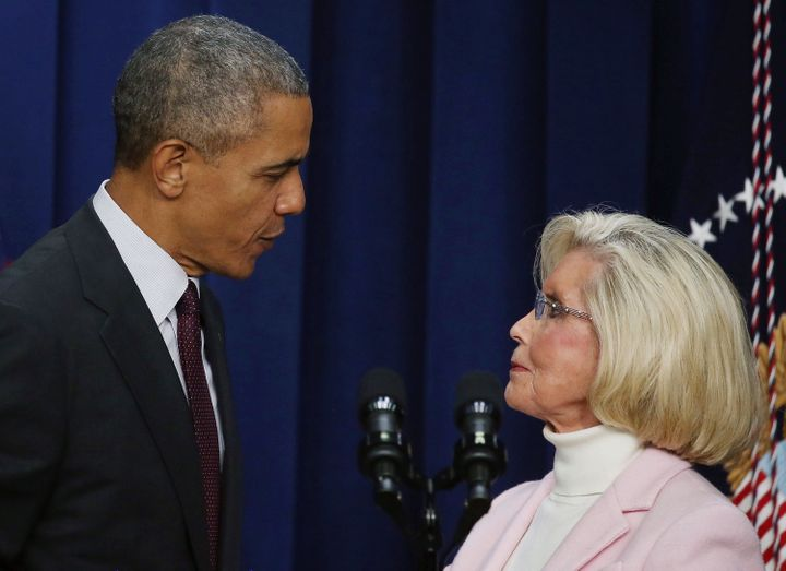 Pres. Obama and Lilly Ledbetter at the White House last year on the 7th anniversary of the Lilly Ledbetter Fair Pay Act