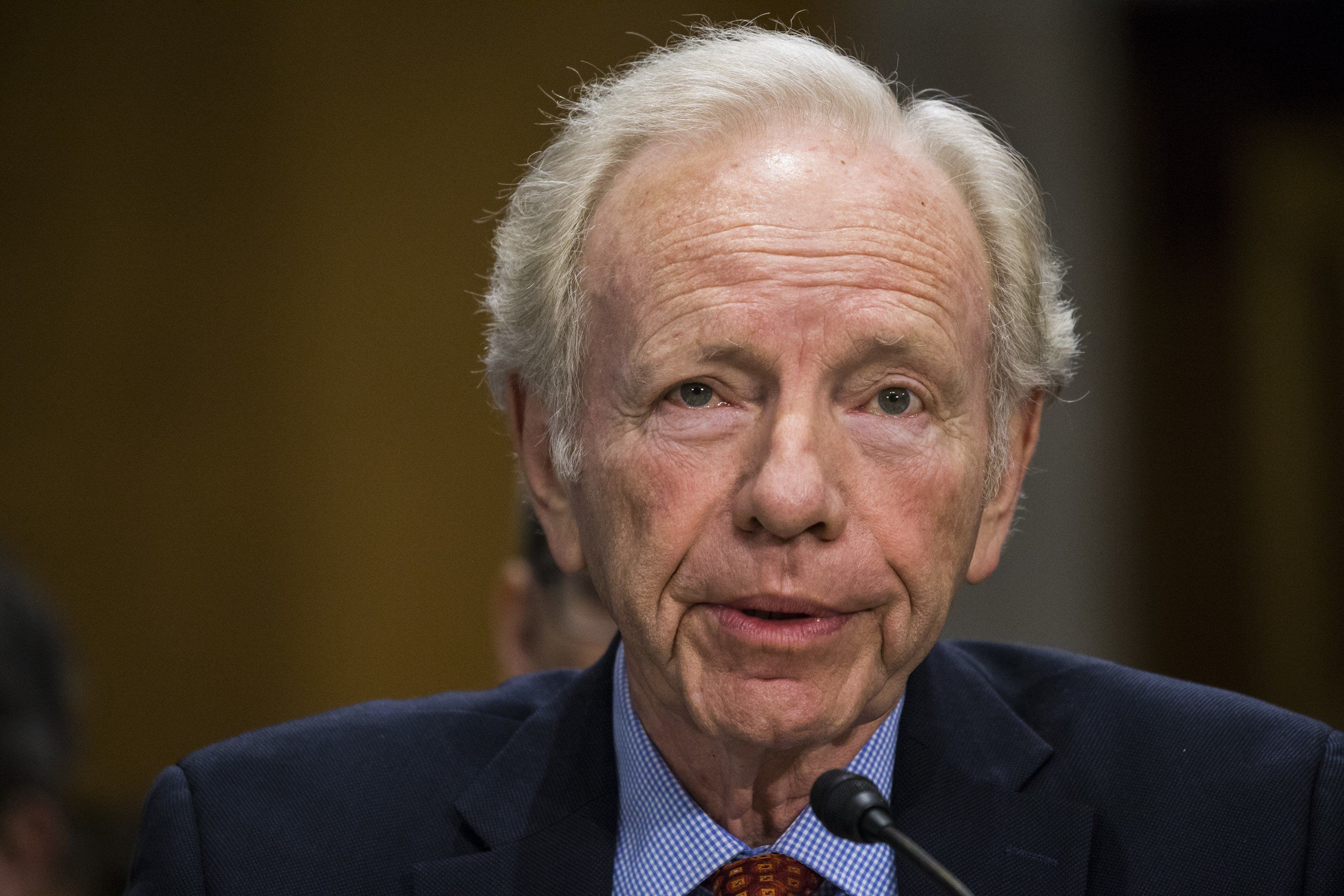 WASHINGTON, USA - FEBRUARY 16: Former Senator Joe Lieberman testifies on behalf of David Friedman in front of the Senate Foreign Relations Committee who are holding a hearing to decide whether or not to accept President Trumps nomination of Friedman to the United States ambassador to Israel in Washington, USA on February 16, 2017. (Photo by Samuel Corum/Anadolu Agency/Getty Images)