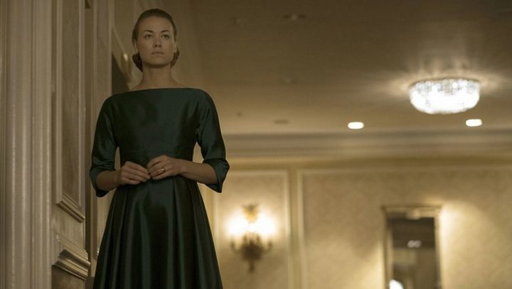 "Yvonne Strahovski in ""The Handmaid's Tale."""
