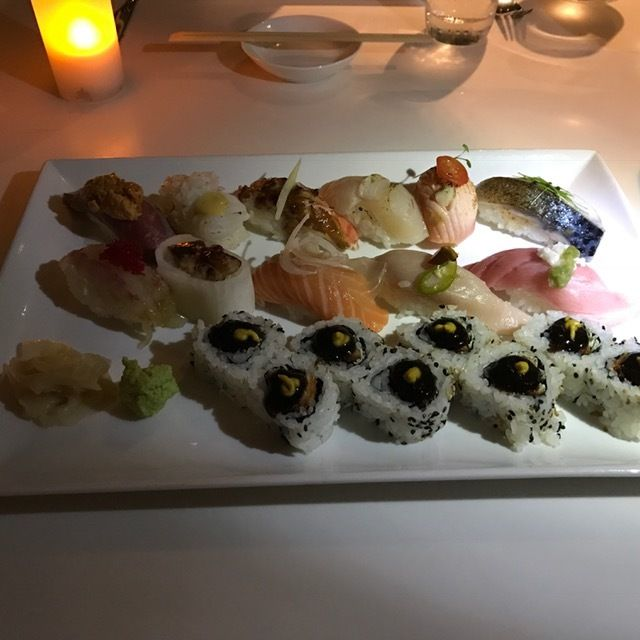 Start your meal at Ravish at the Modern with a sushi platter for the table.